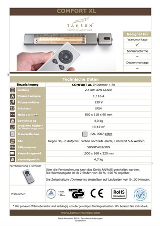 Datenblatt Tansun COMFORT XL Heizstrahler