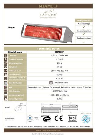 Datenblatt Tansun Infrarot Heizstrahler MIAMI 1,5 kW