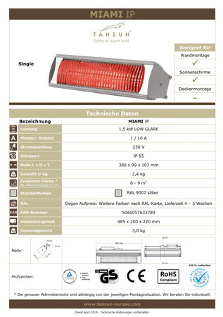 Datenblatt Tansun Infrarot Balkon Wärmestrahler MIAMI