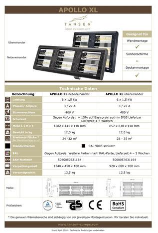 Datenblatt Tansun Wärmestrahler Apollo 6 x 1,5 kW für Arbeitsplatz