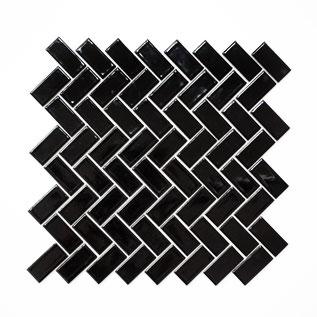 Fischgrät Mosaikfliese schwarz glänzend 2x5cm
