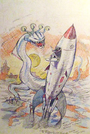 """Sea Monster from Planet X"" Colored Pencil Sketch"