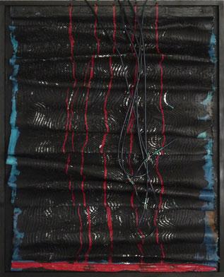 Veronika Matzner, Aktionskunstwerk entstanden bei einer Performence, Acryl, Aluminuium Leinwand Holz