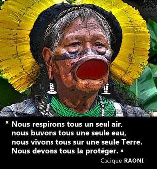 Raoni, défenseur de l'écologie en Amazonie