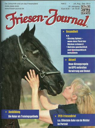 Babsi und Blacky am Cover des Friesen Journals 9/2013 - auch nach seinem Tod unvergessen und eine große Ehre für Beide!