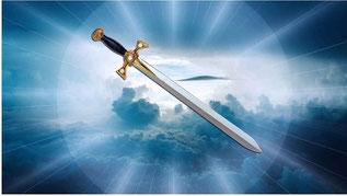 ne épée aiguë à deux tranchants sort de la bouche de Jésus. « Il tenait dans sa main droite sept étoiles, de sa bouche sortait une épée aiguë à deux tranchants et son visage était comme le soleil lorsqu'il brille dans toute sa force.