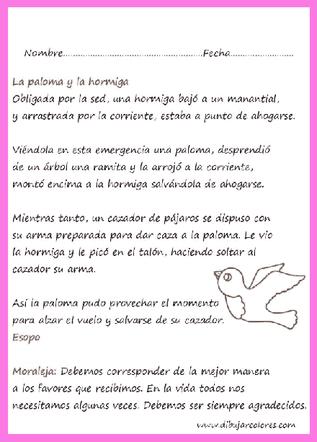 Lectura para imprimir de la fábula la paloma y la hormiga