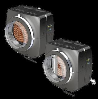 Kombination aus HomEvap und Cooler zur direkten Lüftbefeuchtung und Kühlung über WTW Anlagen