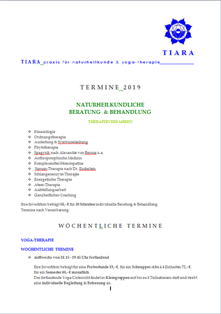 Newsletter 2019, TIARA praxis für naturheilkunde & yoga-therapie