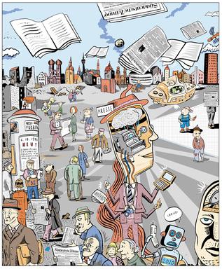 Illustration für die Süddeutsche Zeitung von Niels Schröder. Thema war das Jubiläum der Existenz der Süddeutschen Zeitung; sie wurde 1945 in München gegründet.
