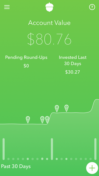 My Acorns account after 3 months of minimum investing