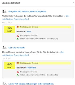 Beispiel Einzelbewertungen - ReviewMeta