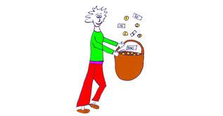 Männchen, dem wie bei Sterntaler das Geld in einen Korb regnet