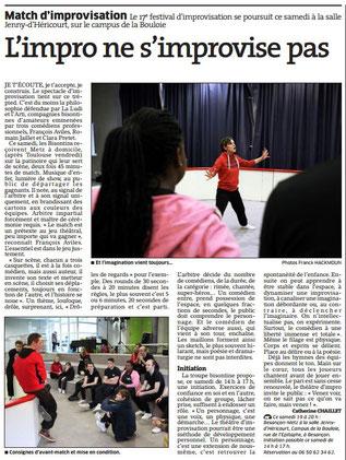 Article de presse parlant de théâtre d'improvisation