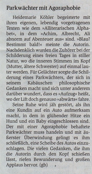 """aus der Kritik im GEA, unter dem Titel """"Abwärts im Aufzug"""""""
