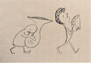 Ausschnitt aus einer Zeichnung von Joachim Stahls Tochter Rosa