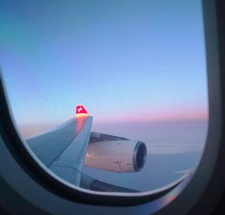 Langsam legt sich die Nervosität - wir sind gestartet, sind auf dem Flug in die Schweiz.