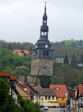 Der schrägste Kirchturm in Bad Frankenhausen