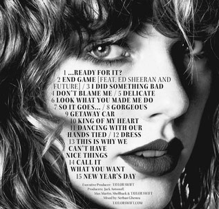 "The official track list for ""reputation"" (Big Machine Records, 2017)"
