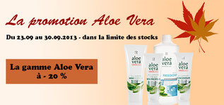 Le mois de septembre  2013 chez LR n'a pas fini de vous surprendre... Profitez d'une promotion exclusive sur 34 produits à l'Aloe Vera: les incontournables aux prix minis