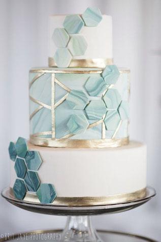 gâteau mariage géométrique