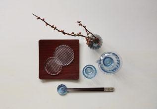 ガラスのうつわと鎌倉彫