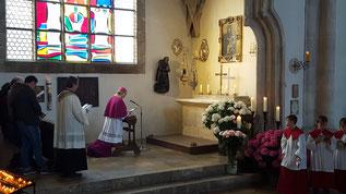 Bischof Hanke erneuert die Marienweihe vor dem Bild der Dreimal Wunderbaren Mutter. Foto: Bernhard Löhlein.