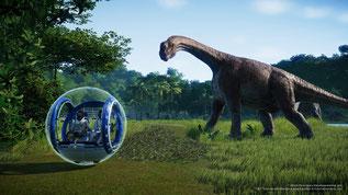 Jurassic World Evolution bietet riesige Dinosaurier, die ihr in eurem Freizeitpark auch züchten dürft. Bilderquelle: Frontier Developments