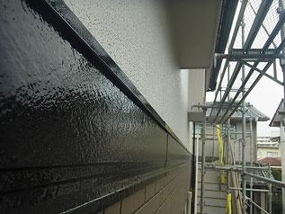 熊本市K様家帯板塗装完成。ブラックカラーに塗替えました。