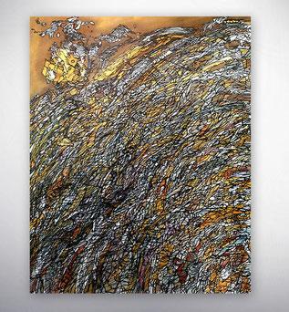 Bild, Gemälde, Silber, Gold, Schwarz Weiß, Bunt, XXL, Original, Unikat, grafisch, geometrisch,