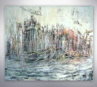 Bild, Gemälde, Silber, Gold, Rot, Schwarz Weiß, Bunt,Original, Unikat, Stadt, City, Skyline,