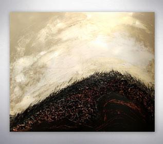 Bild, Gemälde, Silber, Schwarz, Weiß, Bunt,  Original, Unikat, Hügel, Landschaft, Collage mit Stahlteilen,