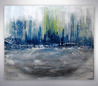 Bild, Gemälde, Silber Blau, City, Skyline, Grün,  Original, Unikat,