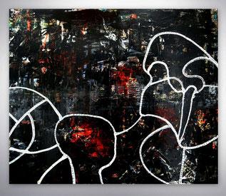 Bild, Gemälde, Silber, Gold, Rot, Schwarz, Weiß, Bunt, Original, Unikat, figurativ, Menschen, Figuren,