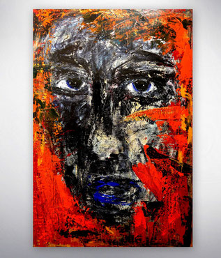 Bild, Gemälde, Silber, Rot, Weiß, Bunt, XXL, Original, Unikat,