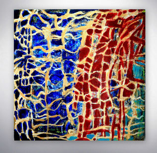 Bild, Gemälde, Silber, Gold, Blau, Weiß, Bunt, Original, Unikat, grafisch, geometrisch,