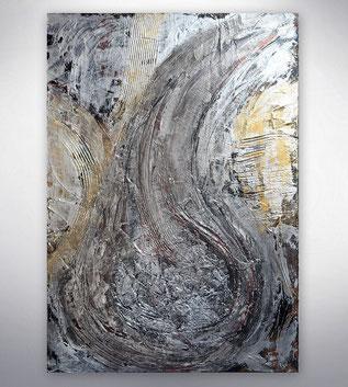 Bild, Gemälde, Silber, Gold,  Schwarz Weiß, Bunt, XXL, Original, Unikat,