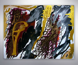 Bild, Gemälde, Silber, Gold, Rot, Weiß, Bunt, Original, Unikat,