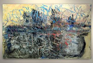 Bild, Gemälde, Silber, Gold, Rot, Weiß, Bunt, Original, Unikat, gespachtelt, Strukturen,