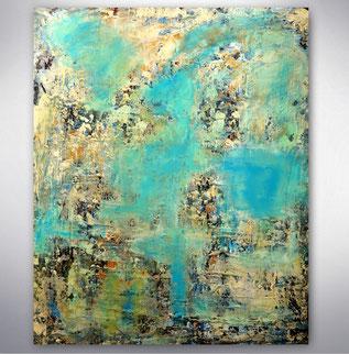 Bild, Gemälde, Blau,  Weiß, Bunt, Original, Unikat, gespachtelt, Strukturen,