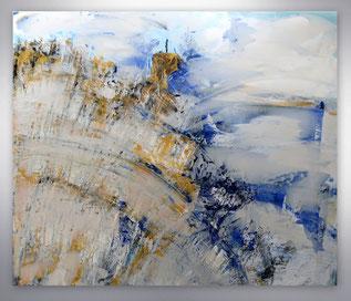 Bild, Gemälde, Silber, Gold, Blau, Weiß, figurativ, XXL, großformatig, modern, gespachtelt,
