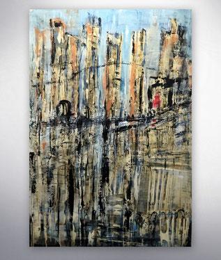 Bild, Gemälde, Gold, Blau, Rot, Weiss, Bunt, Original, Unikat,