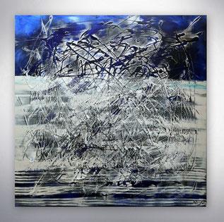 Bild, Gemälde, Silber, Gold, Blau, Weiß, Bunt, XXL, Original, Unikat, gespachtelt, Strukturen,