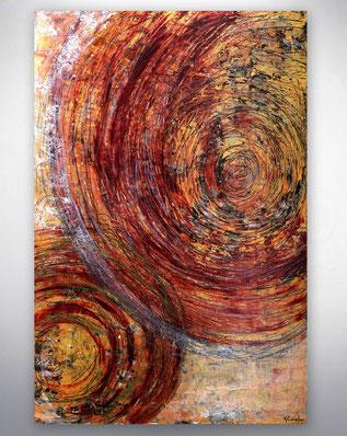 """Gemälde """"Feuer"""" Acrylbild in feurigen Rottönen, transparent gemalt und mit Kupfer strukturiert. Leichte Goldabtönungen und die metallischen Farben geben einen einzigartige Strahlkraft, die je nach Lichteinfall das Gemälde verändert. Wundervoll warm und em"""