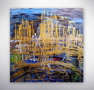 Bild, Gemälde, Silber, Gold, Rot, Weiß, Bunt, Original, Unikat, Stadt, City, Skyline, Strukturen in Gold,