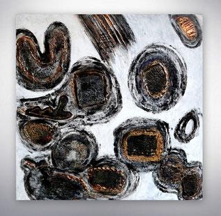 Bild, Gemälde, Silber, Gold, Schwarz Weiß, Bunt, Original, Unikat, gespachtelt, Strukturen in Gold,