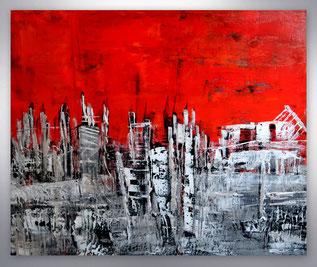 """Gemälde """"Silver City""""  Temperamentvolles grafisches Spachtel- Gemälde in Rot-Silber-  Der Schwarz-Weiß-Effekt des Motives (das Silber leuchtet wie weiß) ergibt einen eye-catcher im Raum. Kräftige Ausstrahlung und Spannung besonderer,  abstrakter Kunst in"""