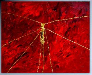 Bild, Gemälde, Silber, Gold, Rot, Weiß, Bunt, XXL, Original, Unikat, Gold Struktur,