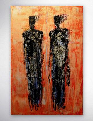 Bild, Gemälde, Rot, Weiß, Bunt, Original, Unikat, Portrait, Gesichter, Menschen, figurativ,