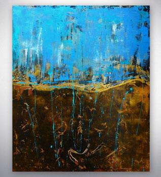 Bild, Gemälde, Türkis, Braun, Gold, Rot, Weiß, Bunt, Original, Unikat, Strukturen, gespachtelt,